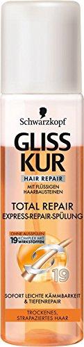 Gliss Kur Total Repair Express Lot de 3 flacons d'après-shampoing 3 x 200 ml