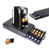 Myiosus Soporte para cápsulas de café, caja de almacenamiento de cápsulas de metal para 45 cápsulas de Nespresso, soporte de almacenamiento K-Cup, cajón organizador de cocina, cajón, color negro