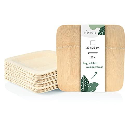 Wiseware - Platos de bambú - Plato desechable como alternativa a los platos de cartón - Platos de madera - Vajilla de camping sostenible - 23 x 23 cm - 25 unidades