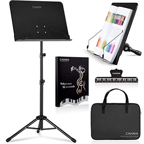 CAHAYA Sheet Music Stand Metal Portable with Carrying Bag, Sheet Music Folder, Projector Stand, Portable Podium Stand, Laptop Stand