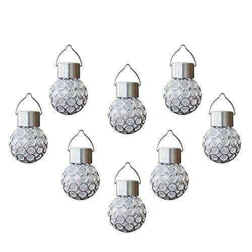 8 Pcs Luces De Jardín Solar, LED Linterna Solar Exterior IP65 Impermeable, Decoración Colgante Ligera para Fiestas en La pared Del Jardín de Vacaciones (luz Blanca)