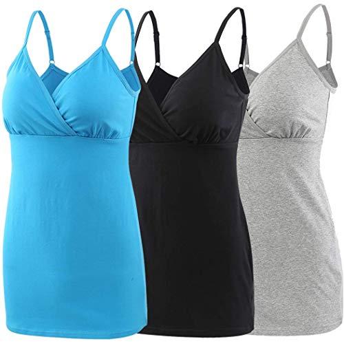 ZUMIY Schwangerschaft Stillen Top, Damen Baumwolle Umstandskleidung Schlaf Ärmellos Cami mit Verstellbaren Trägern (Medium, Black+Grey+Lake Blue/ 3-pk)