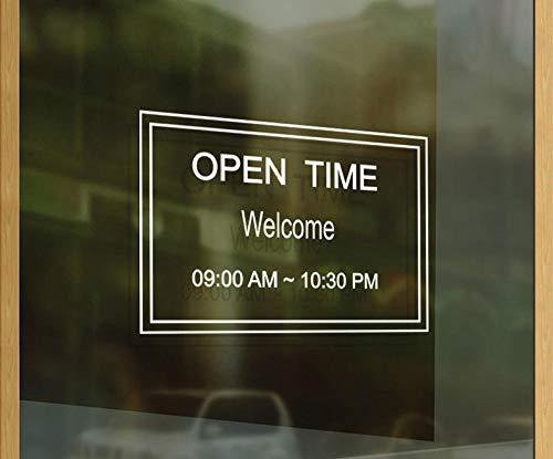 Terilizi Shop Openingstijden op maat brief glazen deur teken Stickers koffie melk thee winkel raam decoratie muur Stickers Poster-37 * 58Cm wit