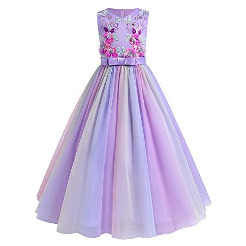 FYMNSI Vestido largo de noche para niña con flores bordadas, sin mangas,...