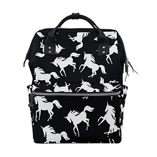 Schwarz weiß Einhorn multifunktions windel Taschen Rucksack Reisetasche