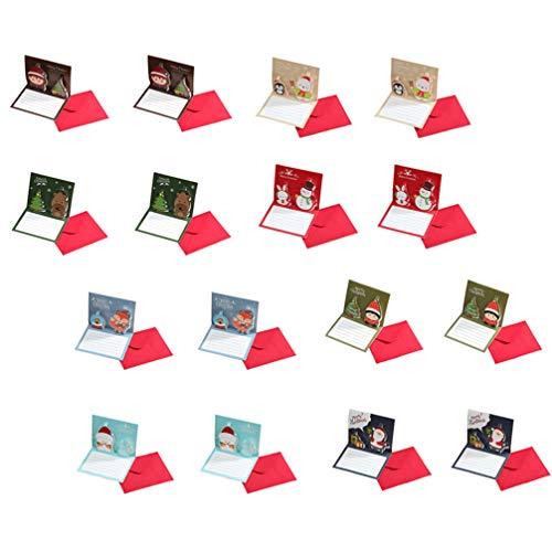 NUOBESTY 16 stycken julinbjudningskort julfest butik gratulationskort ett presentkort julinbjudningar med kuvert (slumpmässig stil)