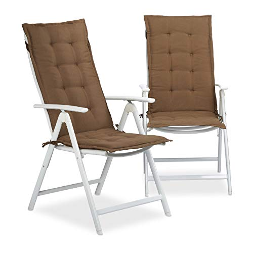 Relaxdays Stuhlauflage Hochlehner, Gartenstuhlauflage 2er Set, Gartenauflagen weich, HBT: 120 x 47 x 2,5 cm, hellbraun