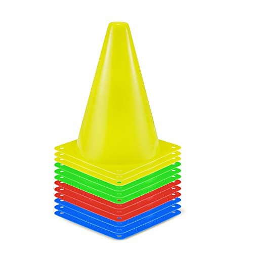 SKL Markierungskegel 12 Stück Durabile Markierkegel Fußball Trainingshilfen Multifunktionskegel (4 Farben (gelb, grün, rot, blau), 23CM)