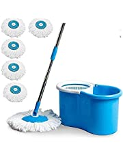 DAIVE's ABI CLEANING SOLUTIONS 360 Degree Spin Floor Bucket PVC Mop with 5 Microfiber Refill with Wheels (Blue)