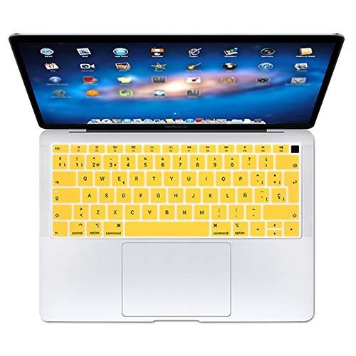 Fácil de usar Español teclado UE teclado protector de la piel cubierta protectora for Apple MacBook Air de 13 pulgadas A1932 13.3 2019 2018 Touch ID Protector de piel para teclado ( Color : Yellow )