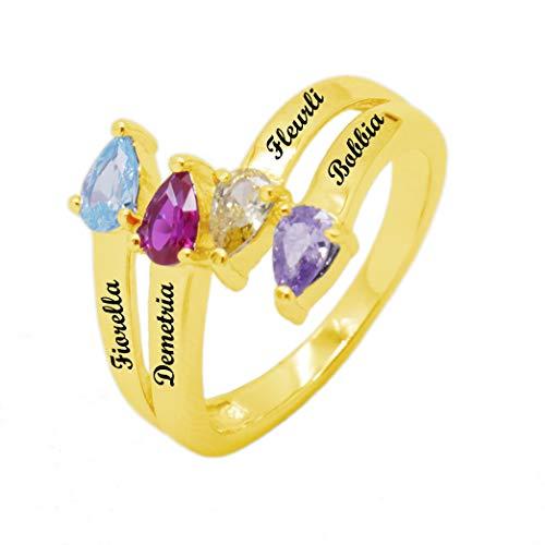 Coudf Benutzerdefinierte 4 Name Herz Birthstone Ring Personalisierte Sterling Silber Memorial Ring Mutter Ring mit Kindernamen Rose Gold Plated/Gold(Gold-69 (22.0))