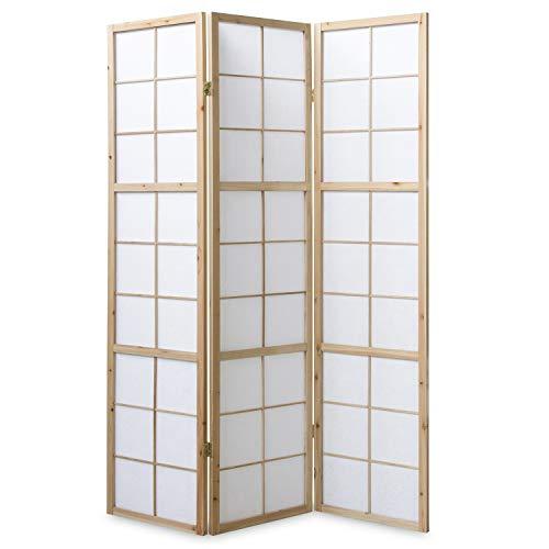 Homestyle4u 279, Paravent Raumteiler 3 teilig, Holz Natur, Reispapier Weiß, Höhe 175 cm
