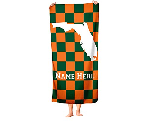 Miami Florida - State Pride Custom Beach and Bath Towel - Personalized Medium and Large Towels for Adults Kids College Football Basketball Fans