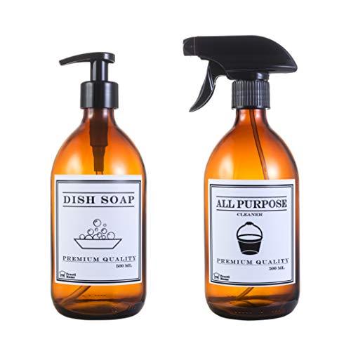 Dispensador Jabón Cristal Ámbar + Vaporizador Spray Multiuso 2 x 500 ml (Dish Soap + All Purpose 500ml)