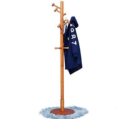 NEHARO Abrigo Soporte de Rack Suelo de suspensión Simple Percha Blanca y en Color Miel de Madera sólida de la suspensión Estante de la Capa Dormitorio Fácil de Acceder