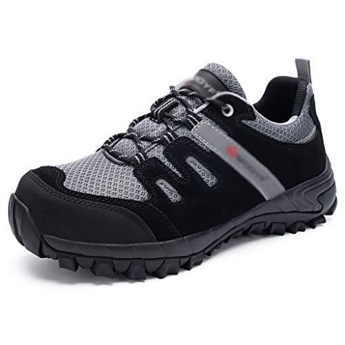 Zapatos de seguridad Dedo del pie de acero for hombre de seguridad Entrenadores (CE / Certificación ASTM), de gamuza de cuero de vaca + tela de malla / MD + Rubber, SRC Anti Slip Calzado de trabajo an