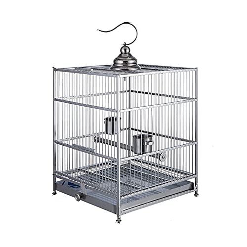 Hong Yi Fei-Shop Jaula Pájaros Myna Jaula de pájaros Grande 304 Acero Inoxidable Negro Phoenix Jaula Lujo baño Grande jaulas de Ave Especial Loro Jaula Jaula