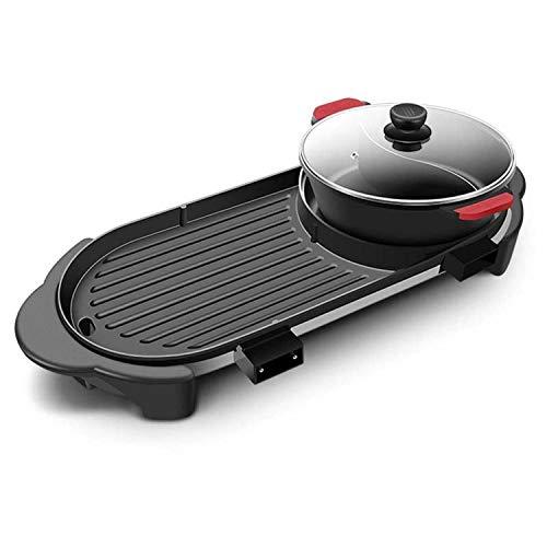 YFGQBCP Parrilla eléctrica de múltiples funciones 2200W, electrodomésticos de cocina Horno eléctrico, Teppanyaki Dank sin humo antiadherente aceite eléctrico Molde de horno de múltiples funciones 110V