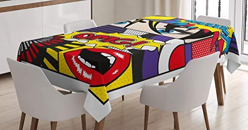 ABAKUHAUS Arte Mantele, Patrón de cómic, Resistente al Agua Lavable Colores No Destiñen Personalizado, 140 x 200 cm, Multicolor