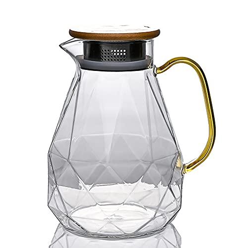 H·Aimee Jarra de Agua Cristal Borosilicato Jarras de Vidrio con Tapa Madera Acero Inoxidable 1,6 litros