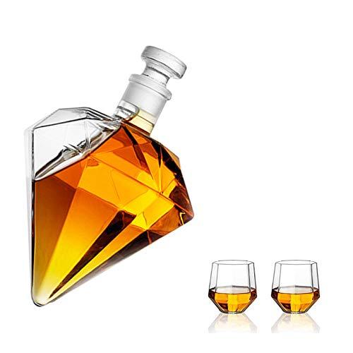 AOO Gafas de Whisky y Juego de Decanter, decantador de Whisky Fijar el decantador de Licor con 2 Tazas de Vidrio Craft Bottle Bottle Holder Decanter Wine Set