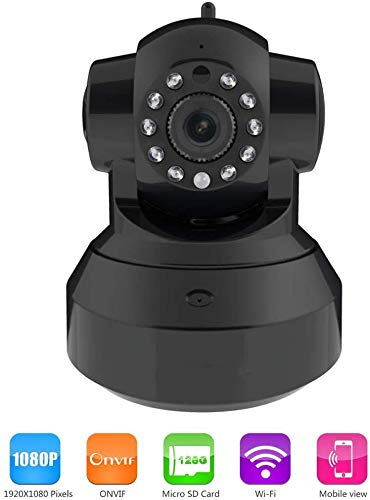 Smart IP Camera Dual Antenna tweewegspraakcommunicatie Intercom Lnfrared Night Vision Remote bewegingsdetectie Alert Phone op afstand te bekijken, for een kind/Dier/Elder, Black HAOSHUAI