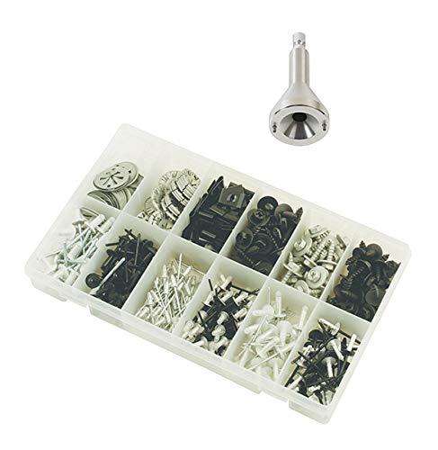 KS Tools 140.2337-A1 Lot d'un outil de démontage pour agrafes de fixation et assortiment d'attaches métalliques, Blanc