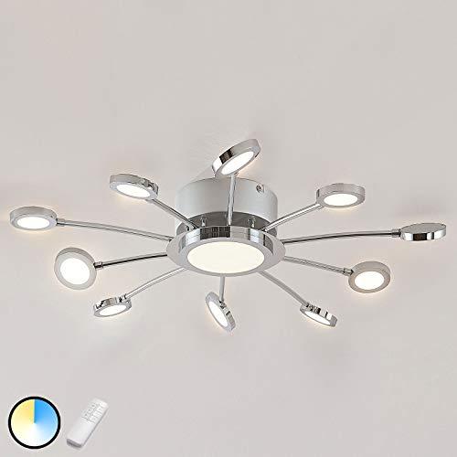 Lindby LED Deckenleuchte 'Meru' dimmbar mit Fernbedienung (Modern) in Chrom aus Metall u.a. für Wohnzimmer & Esszimmer (11 flammig, A+, inkl. Leuchtmittel) - Lampe, LED-Deckenlampe, Deckenlampe