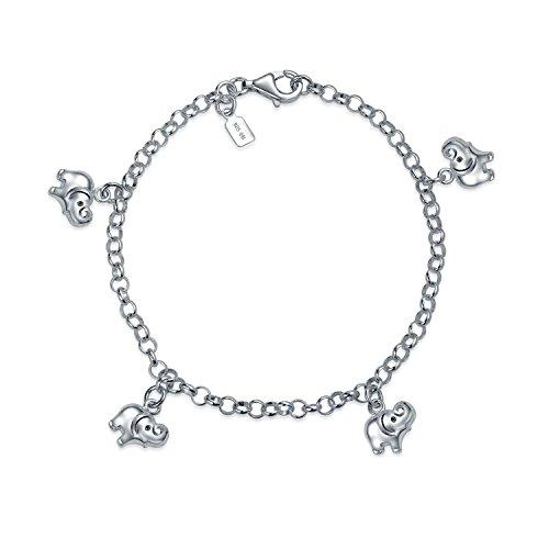 Bling Jewelry Buena Suerte Minimalista Multi Encanto Pulsera Elefante Colgando De Las Mujer para Adolescente 925 Plata De Ley 925