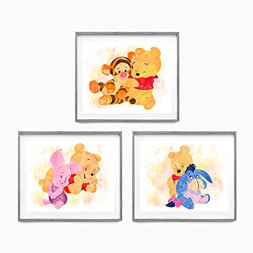Winnie The Pooh Watercolor Wall Art. Piglet. Tigger. Eeyore. Nursery Wall Art. 3 Set of 8x10. Unframed