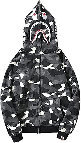 Xingge Squalo Bape Ape Bape Felpa con Cappuccio Camo Stampa Maglione Allentato Casuale Giacca per Gli Uomini Le Donne Zip Up (Black-White-a,XXL)