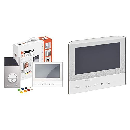 Bticino, Videoportero, WiFi, 7 Pulgadas, Intercomunicación, Monitor Color, cámara + Legrand Linea 3000Monitor Manos Libres c300x13e 2hilos Claro l3000