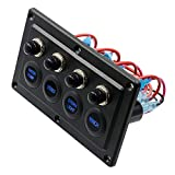 cuckoo-X Panel de Pantalla táctil LED Universal de 12V 24V, Caja de Panel de Control táctil a Prueba de Agua con Interruptor Iluminado de 4 Posiciones para Barcos RV Marines