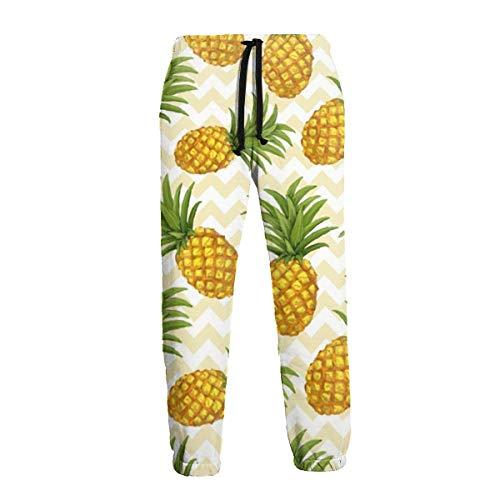 Hangdachang Men's Sweatpants Pineapple Printed Casual Pants Soft Comfortable Joggers Sport Pants M