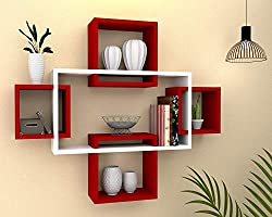 Vudy Exclusively Designed Wall Shelf with 5 intersecting Decorative Living Room Shelves (White & Red)