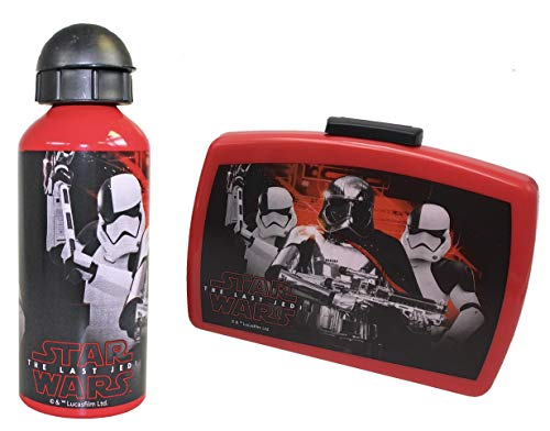2-tlg. Pausenset | Brotdose mit Trennwand & Alu-Trinkflasche | Star-Wars Motiv | 600 ml Wasserflasche