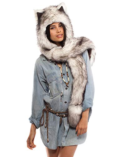 Fhillinuo Wolf Anime Faux Fur Animal Hood Hoods Hat 3-in-1 Mittens Scarf Spirit Paws Ears (4)