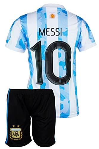 Argentinien #10 Messi Trikot Set 2020/21 Heim Kinder Fussball Trikot Mit Shorts (128, 4-5 Jahre)