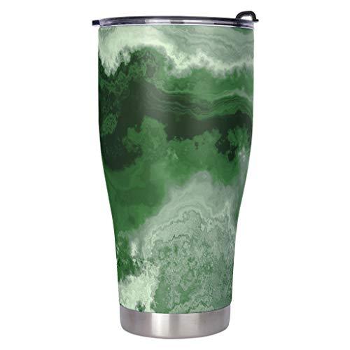 Xuanwuyi Vaso de café de acero inoxidable con aislamiento al vacío resistente a fugas de mármol verde para niños blanco 900 ml
