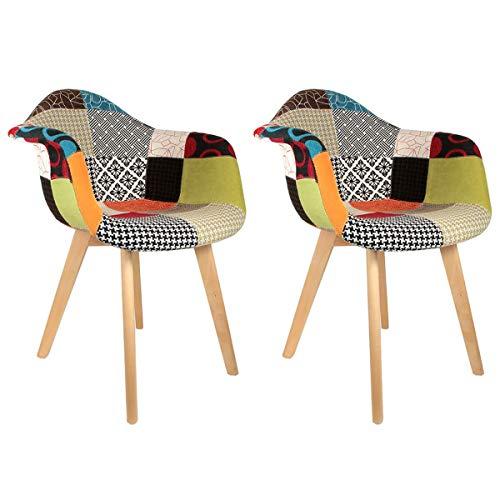 AltoBuy Patchwork - Lot de 2 Fauteuils Scandinaves Multicolore