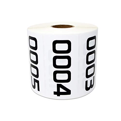 1000 Labels - 0001 to 1000 Consecutive Number Stickers for Inventory Counting Quality Control (3 x 1.5 inch - 1 Roll)