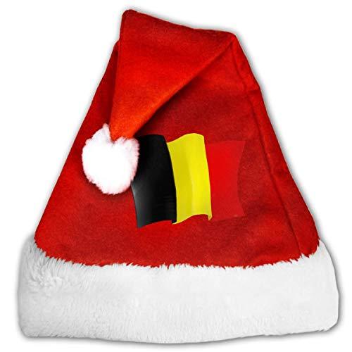 Kenice Nios Y Adultos Gorro De Felpa Santa,Navideo Gorras,Gorro De Navidad,Sombreros De Fiesta,Sombreros para Adultos,Sombreros De La Navidad,Bandera De Blgica M