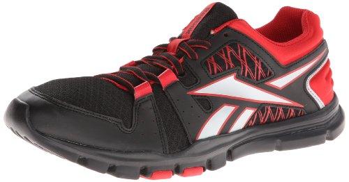 Reebok Yourflex Train RS 4.0 - Zapatillas de entrenamiento para hombre, negro (negro/rojo/plateado (Black/Stadium Red/Pure Silver)), 45 EU