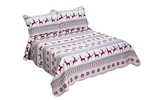 Marina Decoration Pinsonic Embossed Printed Coverlet Bedspread Ultra Soft 3 Piece Summer Quilt Set with 2 Quilted Shams, Christmas Deer Pattern Red Color Queen Size