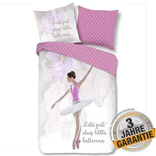 Aminata Kids süße Wende-Bettwäsche-Set Ballerina Ballett 135 x 200 cm + 80 x 80 cm aus Baumwolle mit Reißverschluss, unsere Kinderbettwäsche mit Tänzerin-Motiv ist kuschelig, Sterne, pink, rosa