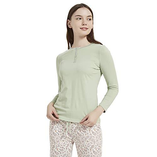 PimpamTex – Pijama de Mujer Invierno Algodón de Otoño-Invierno Camiseta Manga Larga y Pantalón Largo Estampados de Tacto Suave (M, Fina Verde)