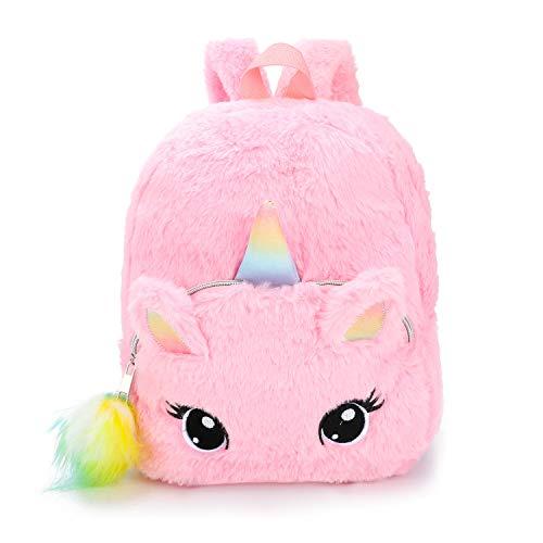 FORLADY mochila de dibujos animados de unicornio de felpa mini mochila de niña dulce.