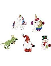 Toyvian 5 piezas pinzas para el cabello de navidad muñeco de nieve horquillas unicornio santa barrettes decoración para el cabello tocado tocado para niñas niños niños (patrón aleatorio)
