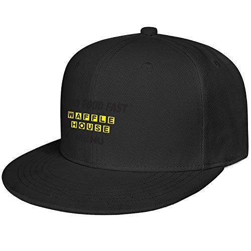 Exquisite Snapback Baseball Cap Washable Stretch Waffle-House-Black-Logo-MENU- Athletic Caps Gifts for Classmate