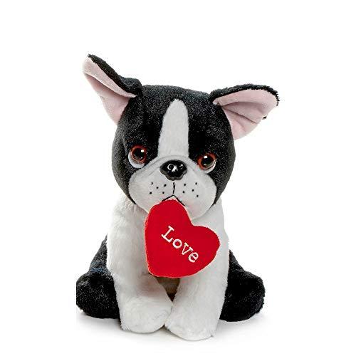 Peluche de Perro Bulldog Francés con corazón en la Boca - 20 CM (8